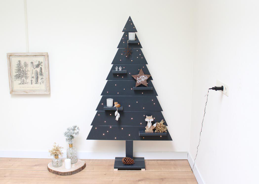 Houten Kerstboom Antraciet Dicht Met Led Verlichting 170 cm