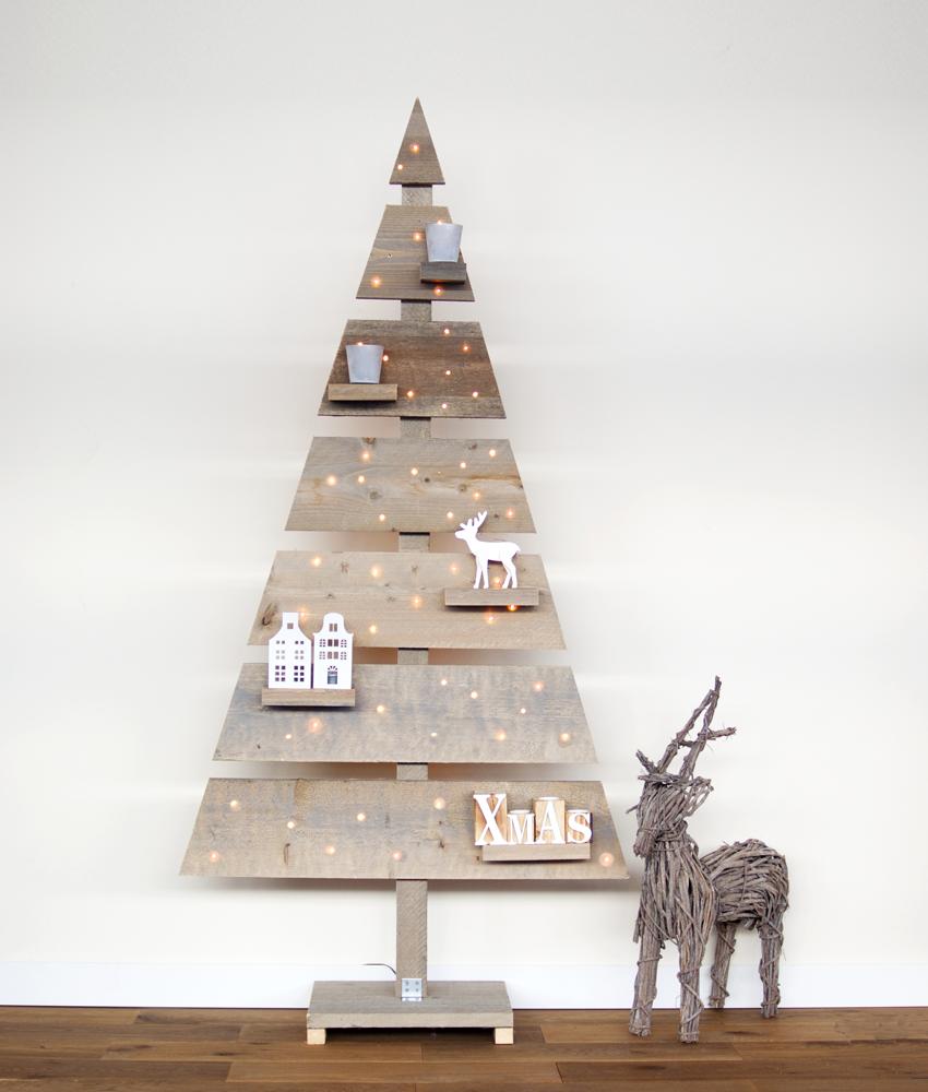 Houten kerstboom steigerhout strak met led verlichting 175 cm for Houten tuinkast intratuin