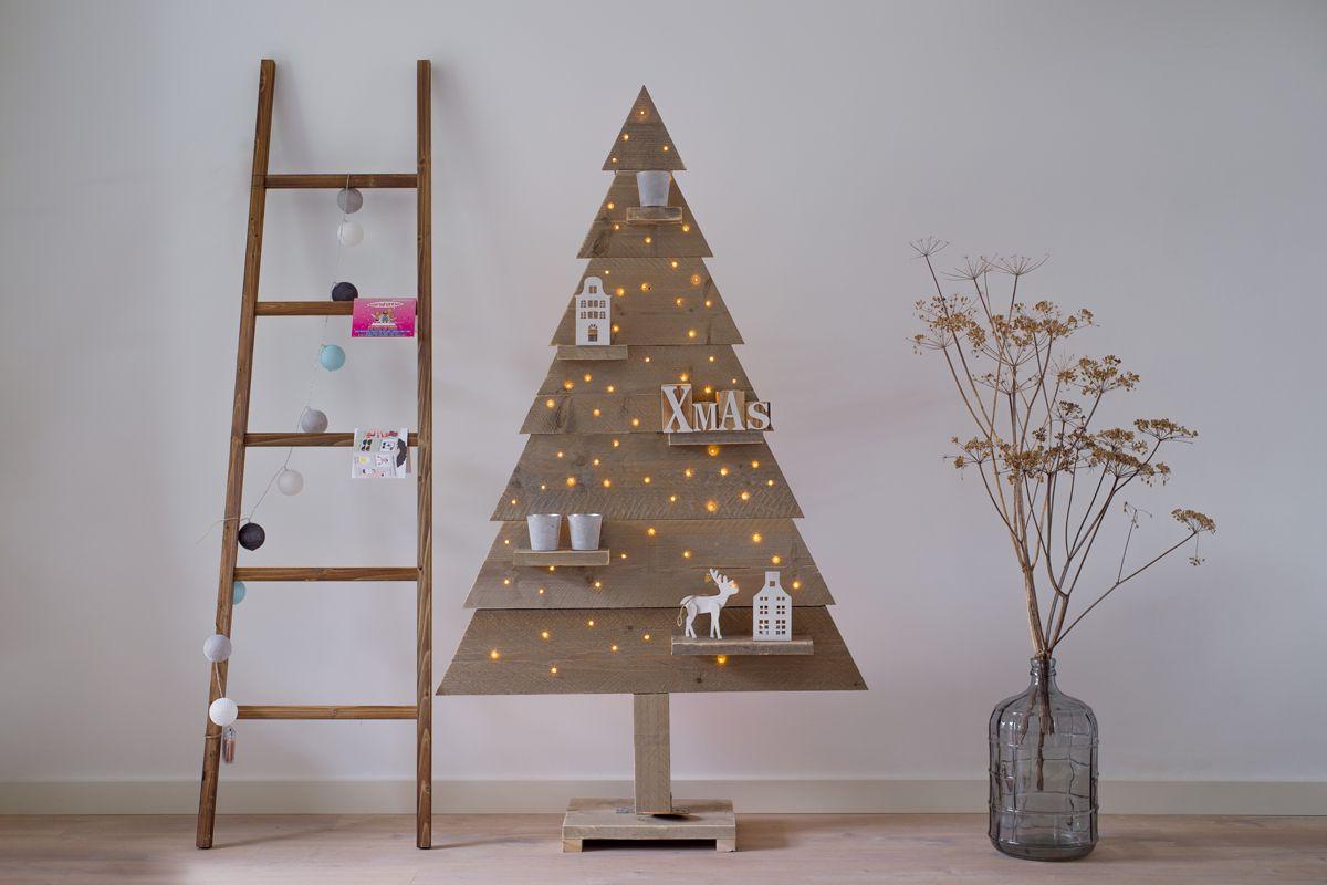 Kerstboom Steigerhout Dicht Houten Met Led Verlichting 170 Cm