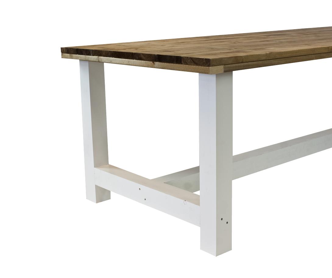 Kloostertafel tafel bruin blad wit onderstel 200 x 90 x 78 cm for Wohnzimmertisch 90 x 120