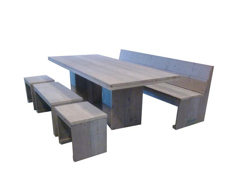 Kolompoot tafel steigerhout voor buiten buitentafel for Steigerhout tuintafel