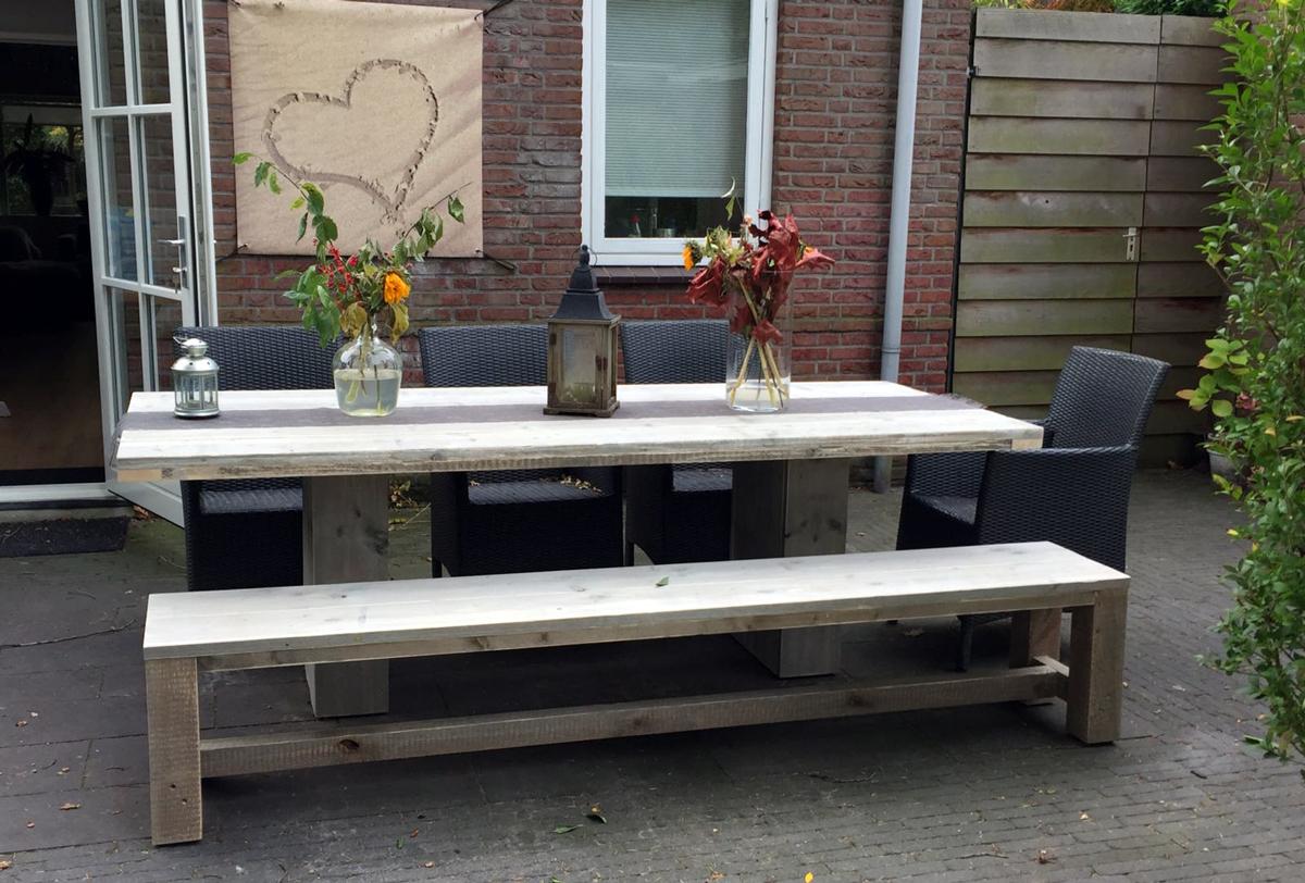 Tafel Steigerhout Tekening : Kolompoot eettafel steigerhout middenpoot tafel