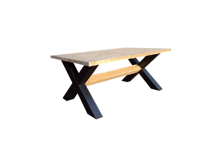 Kruispoot tafel metalen x poten industrietafel lariks blad for Stalen onderstel tafel laten maken