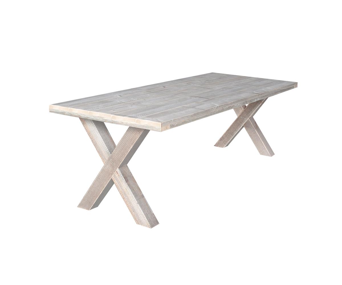 Steigerhout eettafel met stalen onderstel gratis thuisbezorgd