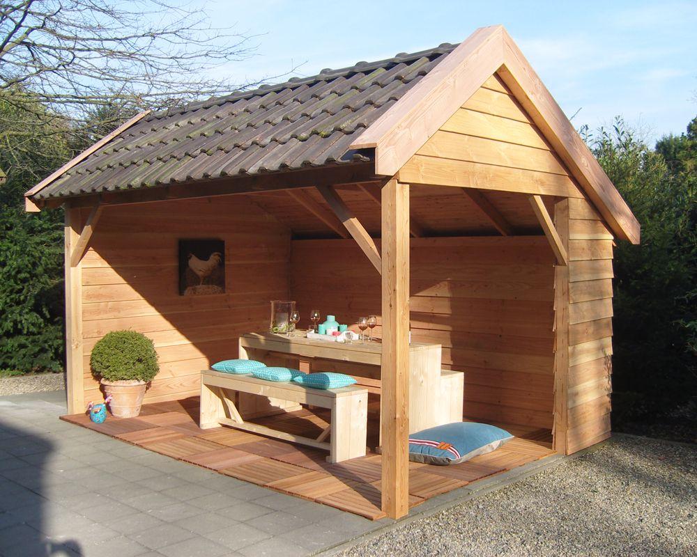 Douglas kapschuur van hollands douglas hout luxe kapschuren - Hoe een overdekt terras te bouwen ...