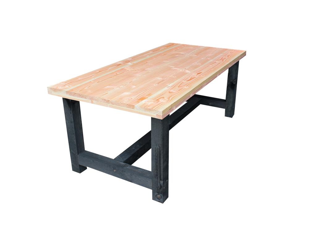 Lariks douglas tafel met zwart kloostertafel tuin - Tafel met chevet ...