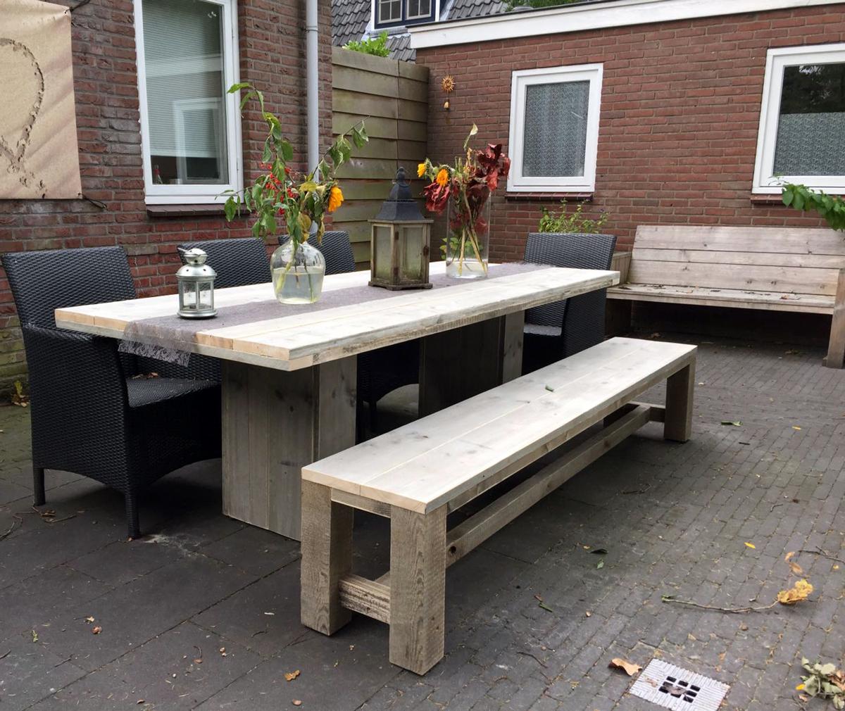 Steigerhout kloosterbank houten bank voor buiten op maat for Steigerhout op maat