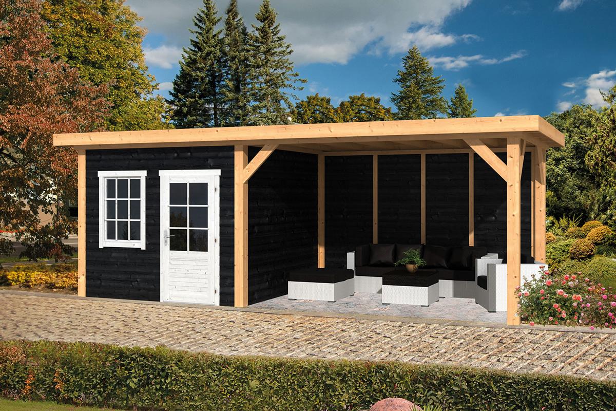 Tuinhuis met plat dak en overkapping blokhut met luifel for Moderne tuin met overkapping