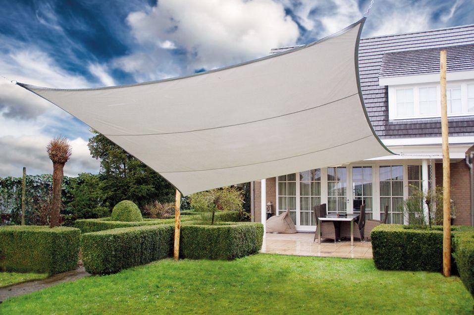 schaduwdoek 4 kant 550 x 550 cm zilvergrijs vierkant 5 5 x. Black Bedroom Furniture Sets. Home Design Ideas