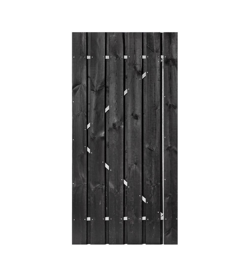 Schuttingdeur zwart gecoat ijzeren frame 200 x 100 cm poort deur - Zwart gecoat ...