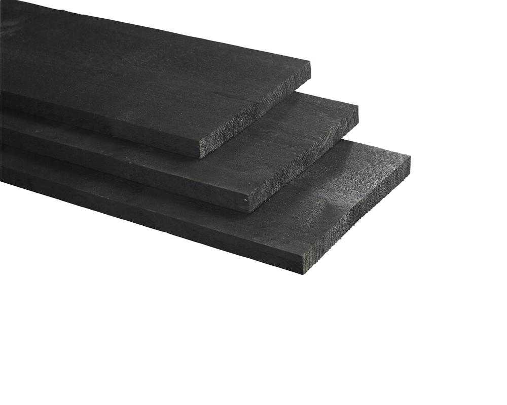 Schuttingplank rustiek zwart geschaafd 1 8 x 14 5 x 180 cm - Planken zwarte ...