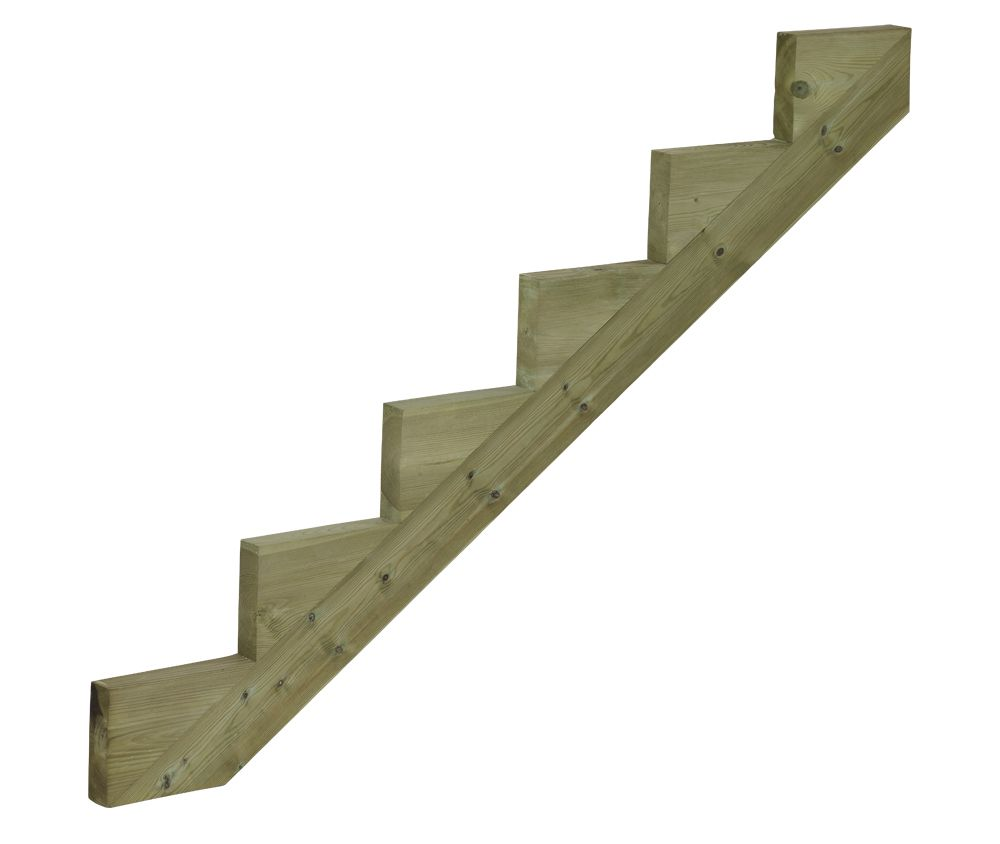 Trapbalk hout voor tuintrap 6 treden trapwang ge mpregneerd for Metalen trap maken