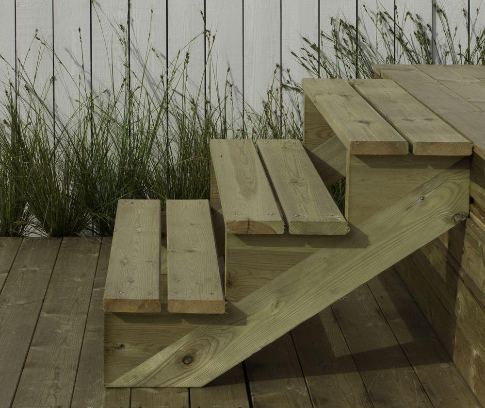 Trapbalk hout voor tuintrap 2 treden trapwang ge mpregneerd for Hout voor traptreden