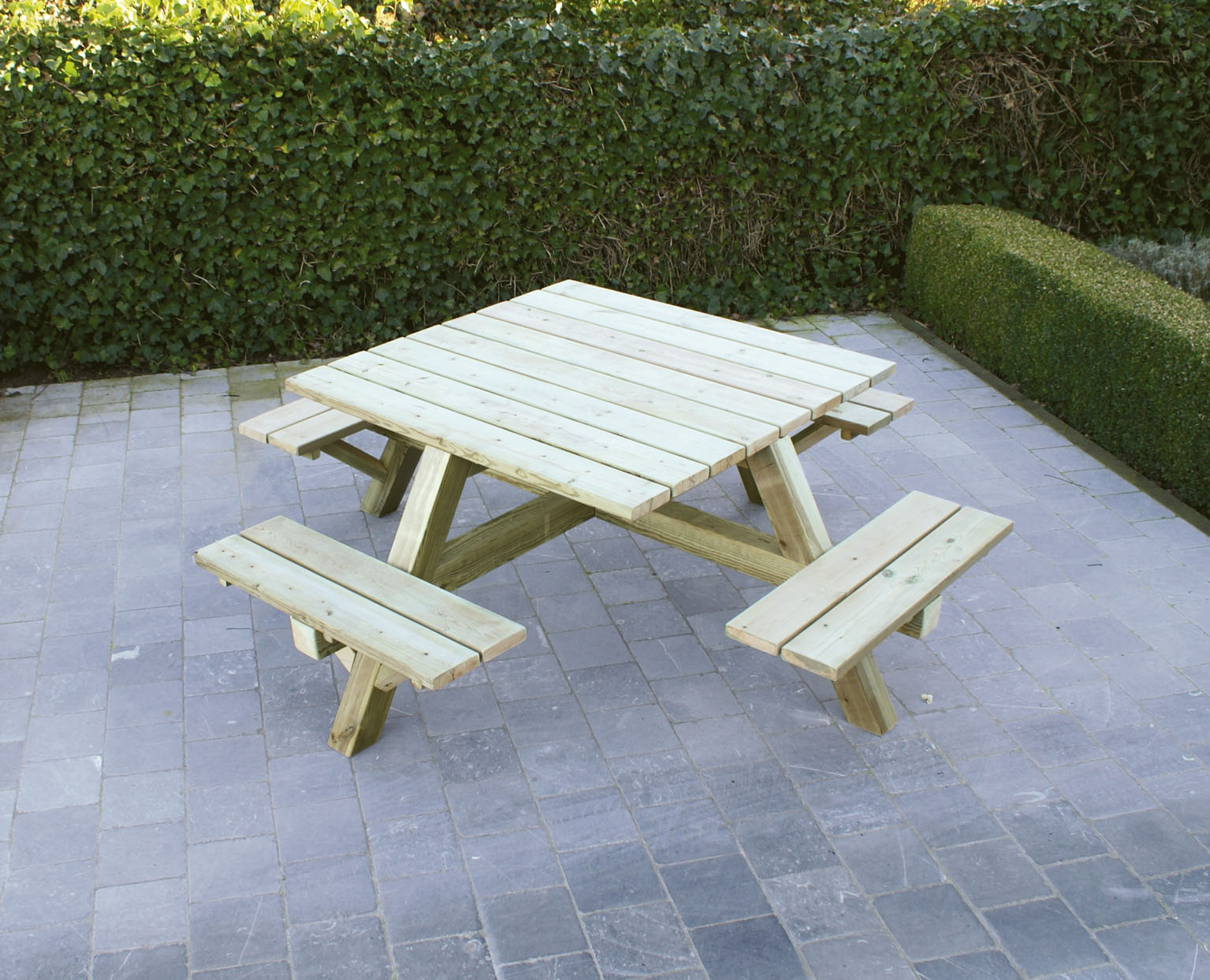 Picknicktafel vierkant luxe 8 persoons