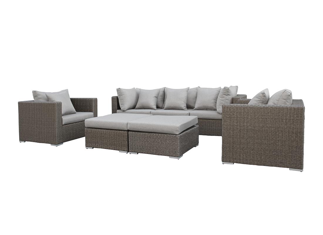 Wicker loungeset damascus donker bruin 7 delig for Gunstige lounge sets
