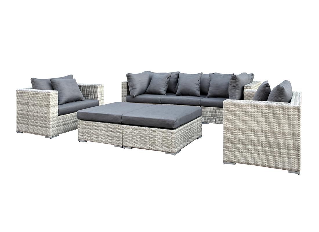 Wicker loungeset glendale grijs gem leerd 7 delig for Gunstige lounge sets