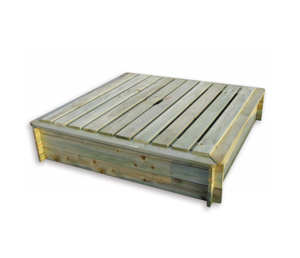Vierkante vuren houten zandbak met deksel 120 x 120 cm - Deksel x ...