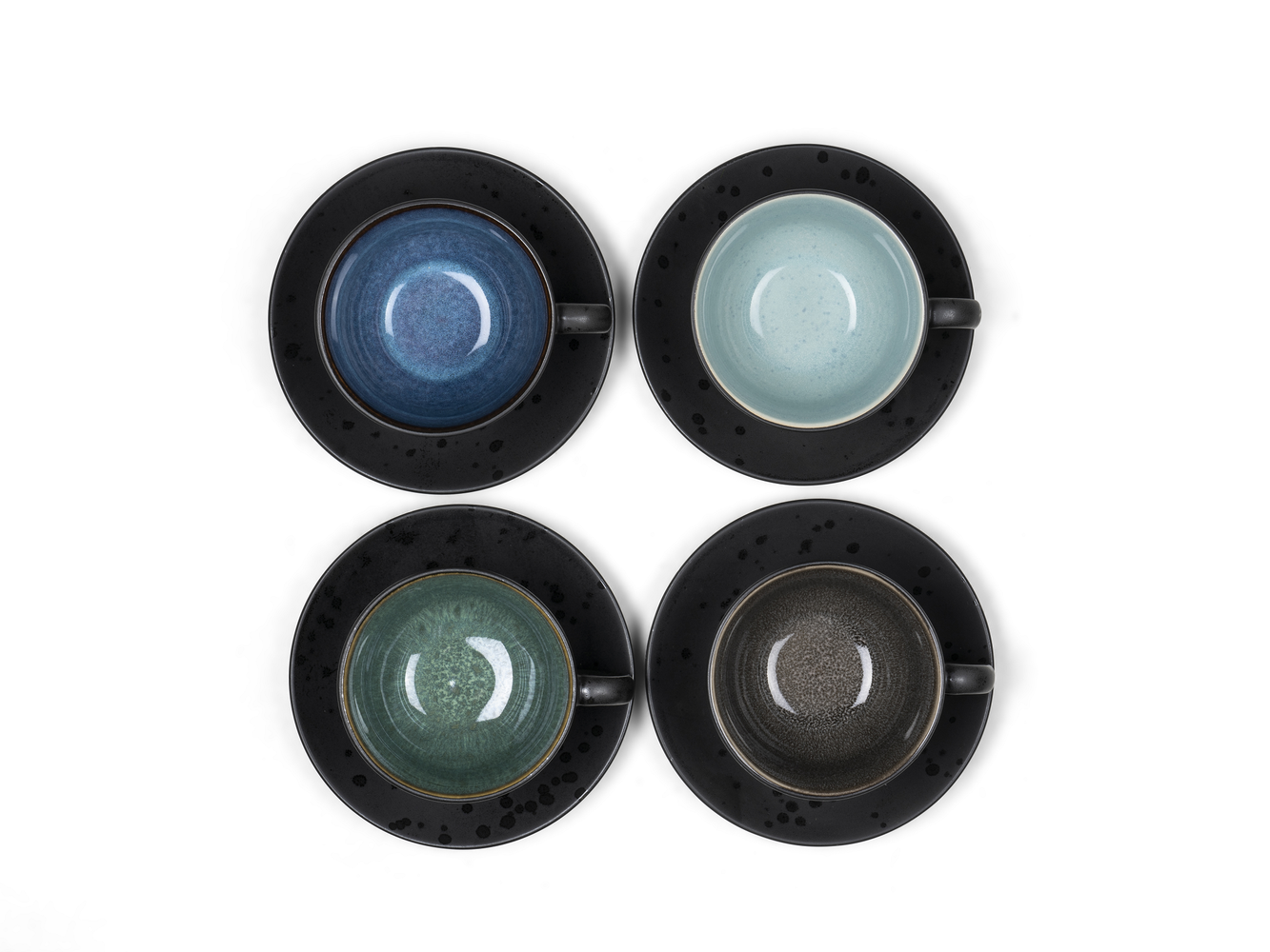 black//blue 0.22 l BITZ Cup with saucer earthenware
