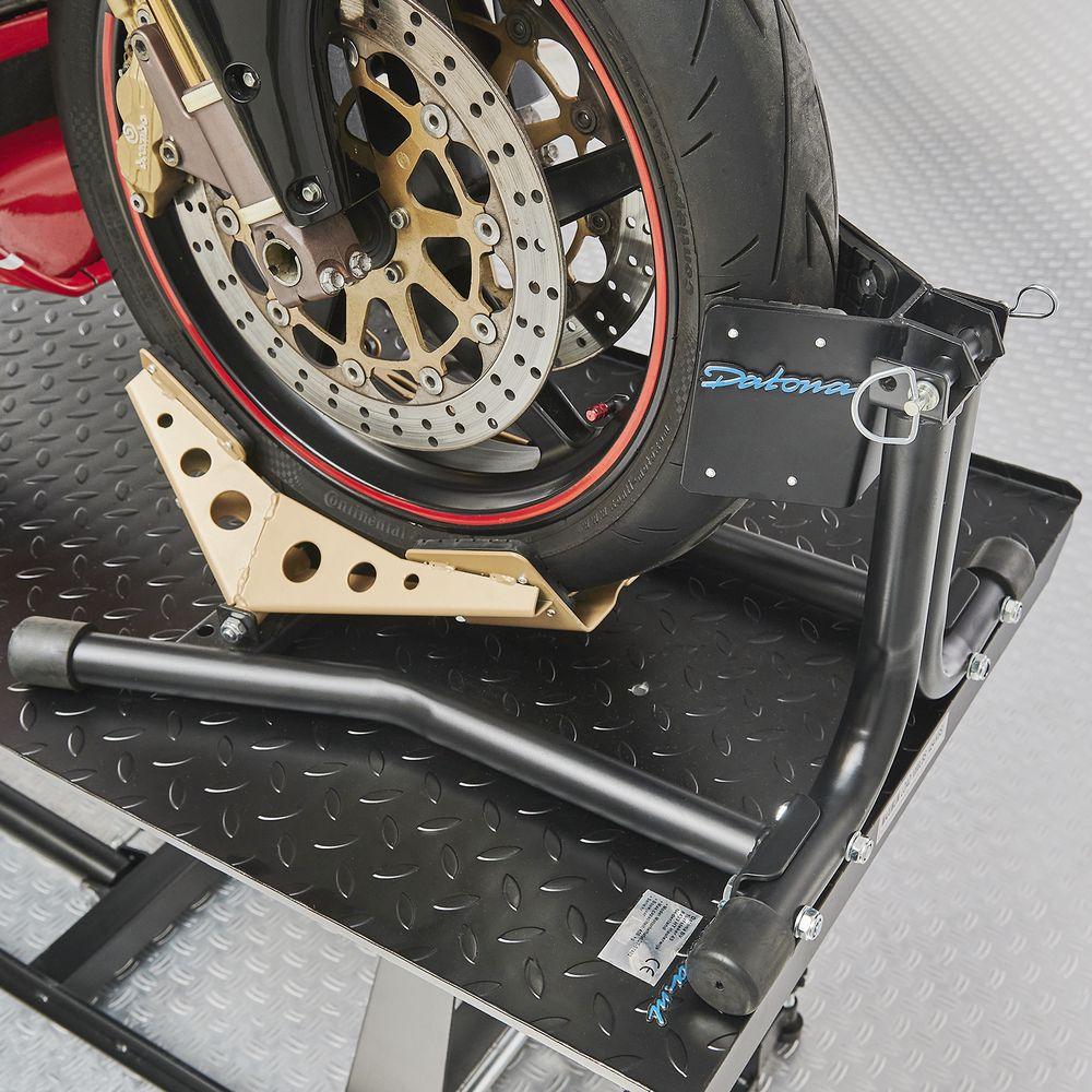 Zwarte motorheftafel 450 kg met sterke inrijklem