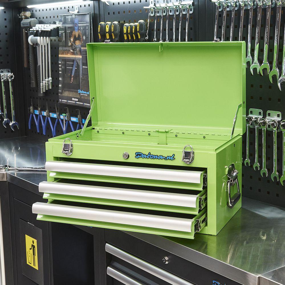 groene toolbox met 3 lades 51101 green
