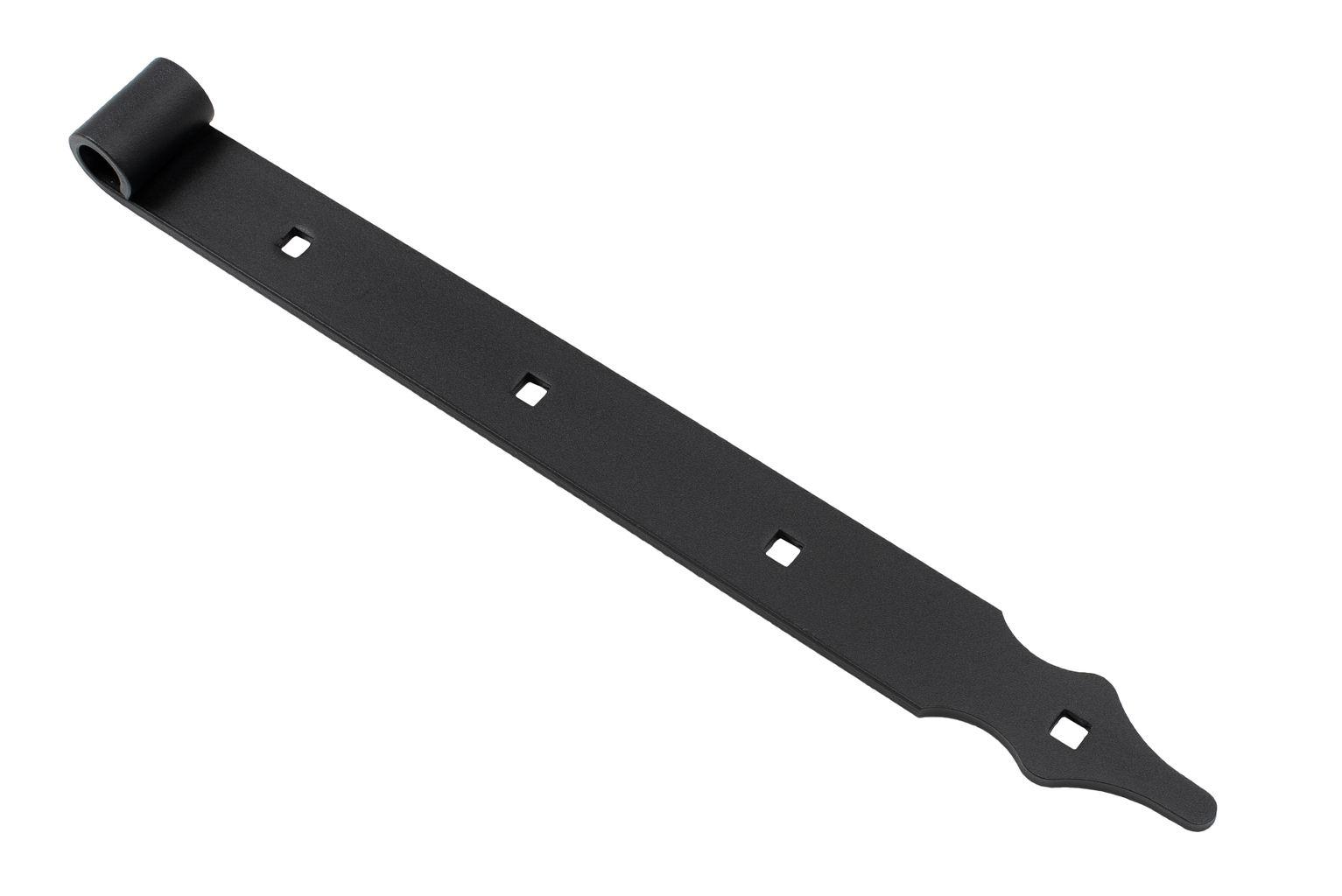 Penture droite noire avec trous carrés 40 cm - Pointe rustique