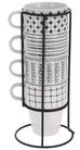 Bekers Porselein met Houder 32 cl - 4 Stuks