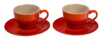 Le Creuset Tasse & Untertasse Ofenrot 200 ml - 2 Stück