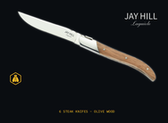 Jay Hill Laguiole steakmes - 6 stuks - olijfhout