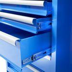 Hoekwerkbank met MDF blad + gereedschapskast blauw 7