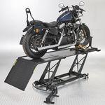 Zwarte motorheftafel 450 kg met Harley Davidson
