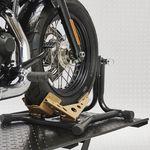 Zwarte motorheftafel 450 kg met luxe inrijklem