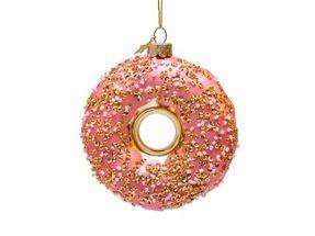 Vondels kerstornament Roze donut met decoratie