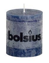 Bolsius stompkaars Rustiek donkerblauw 80/68 mm