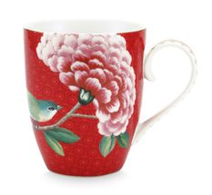Pip Studio Blushing Birds beker 35cl - rood