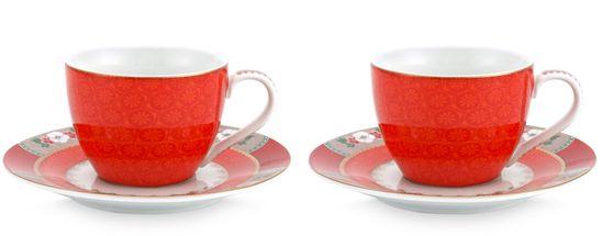 Pip Studio Blushing Birds espressokop en schotel - rood - 2 stuks
