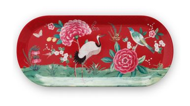 Pip Studio Blushing Birds cakeschaal 33x15cm - rood
