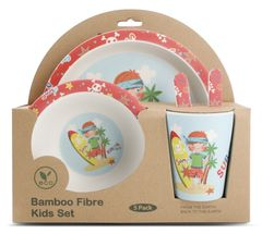 Yong Kinderservies Bamboe Surfer 5-Delig