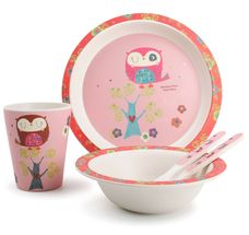 Yong Kinderservies Bamboe Wit 5-Delig