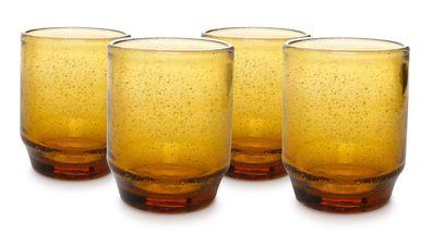 Salt & Peper Glazen Drip Amber34 cl - 4 Stuks