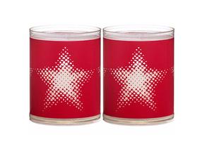 Bolsius kaarsen Sparkle Light ster rood - 2 stuks