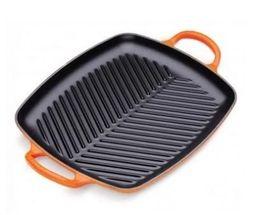 Le Creuset grillplaat rechthoekig oranje-rood 30 x 27 cm
