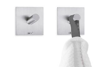 Zack Duplo handdoekhaakje vierkant - mat rvs - 2 stuks