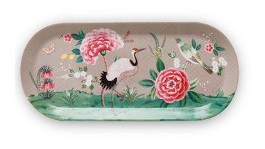 Pip Studio Blushing Birds cakeschaal 33x15cm - khaki