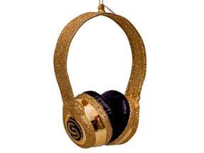Vondels Kerstboom Decoratie Koptelefoon - goud/glitters