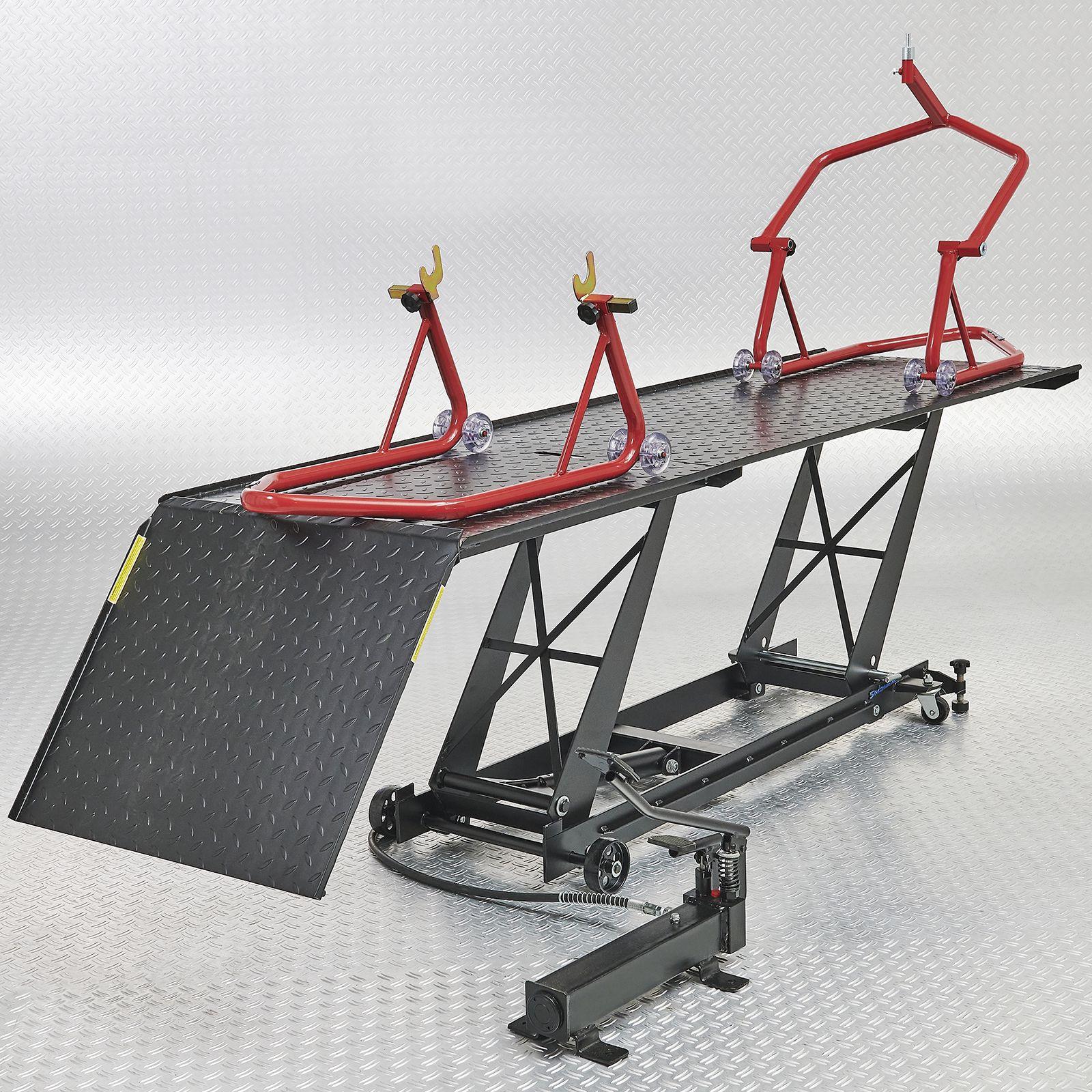 Motorheftafel met paddockstand set rood