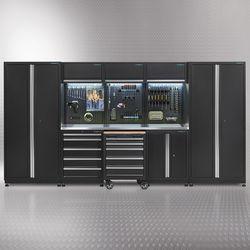 Werkplaatsinrichting PREMIUM met RVS werkblad 385 cm breed 1