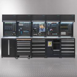 Werkplaatsinrichting PREMIUM met RVS werkblad 340 cm breed 1