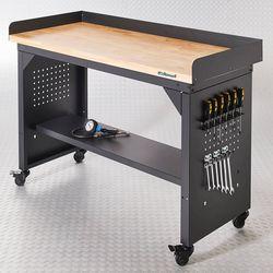 Werkbank PRO met eiken werkblad en legbord verrijdbaar - 150 cm 1