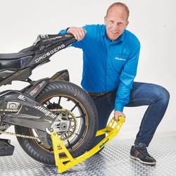 MotoGP Paddockstand achterbrug bobbins Suzuki geel