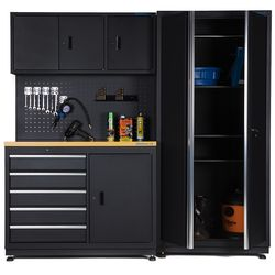Werkbank 120 cm met brede werkplaatskast 1